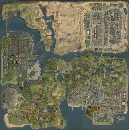 Географічна карта San Andreas