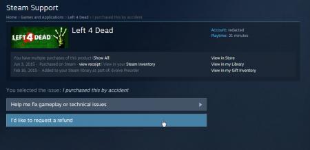 Steam: Повернення коштів