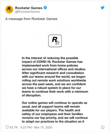 Rockstar Games працюватиме з дому через COVID-19
