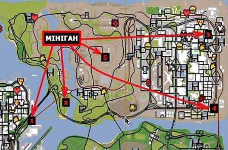 Де можна відшукати мініган в GTA San Andreas?